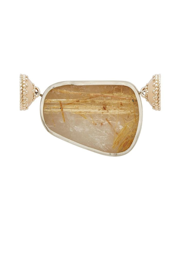 Rutilated Quartz Stone Slice, Mother of Pearl and Sterling Silver Centerpiece, Plated YG Signature Clasps