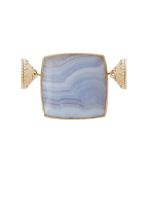 Clara Williams Blue Lace Agate Square Cabochon with Mother of Pearl. 14k centerpiece, plated YG Clasps