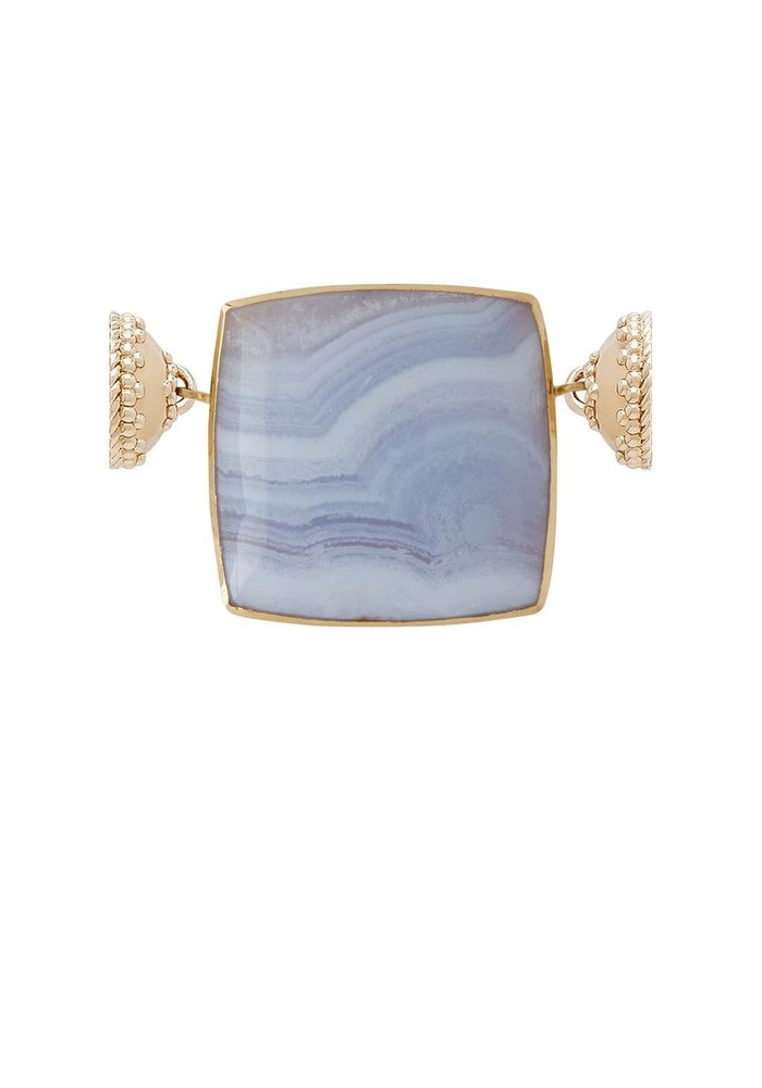 Blue Lace Agate Square Cabochon with Mother of Pearl. 14k centerpiece, plated YG Clasps