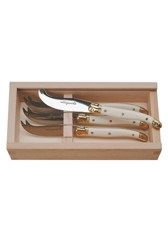 4 Cheese Knives in Box Laguiole Mineral Color