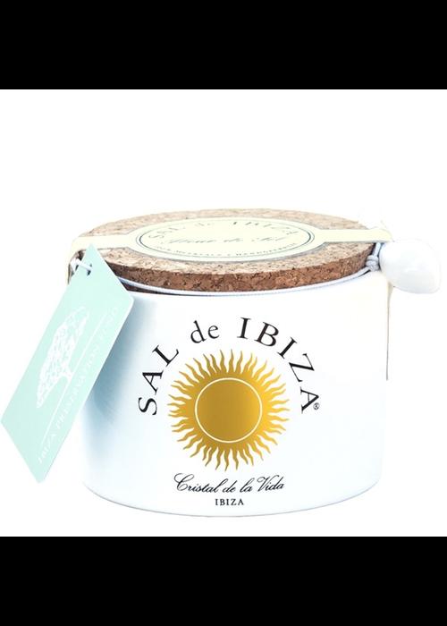 French Farm Fleur de Sel White Ceramic Jar, Sal de Ibeza 140g