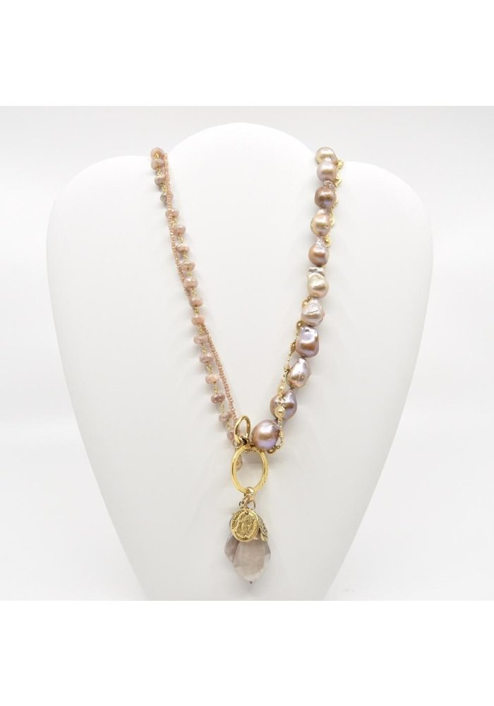 """Flaneur"" Four Strand Blush Pearl Necklace"