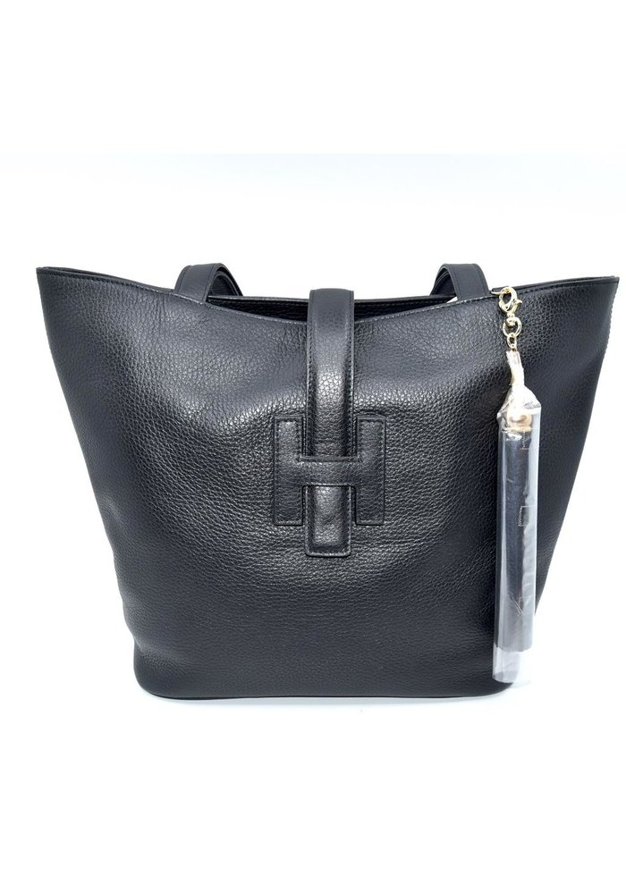 STEFANO BRAVO LARGE BLACK CANVAS /LEATHER BAG