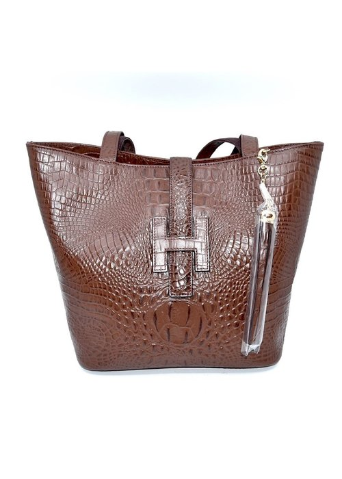 Stephano Bravo Stefano Bravo Deerskin H Bag - Embossed Leather - Crododile Pattern