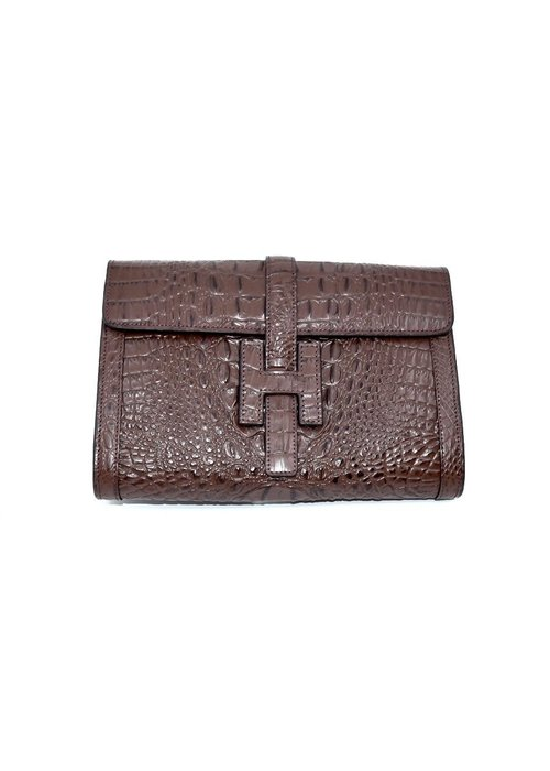 "Stephano Bravo Leather ""H"" Brown Croc Embossed, Medium"