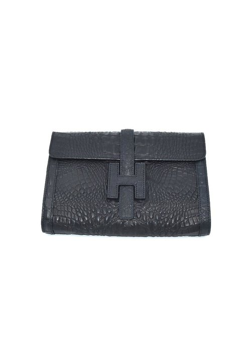 "Stephano Bravo Leather ""H"" Black Croc Embossed, Medium"