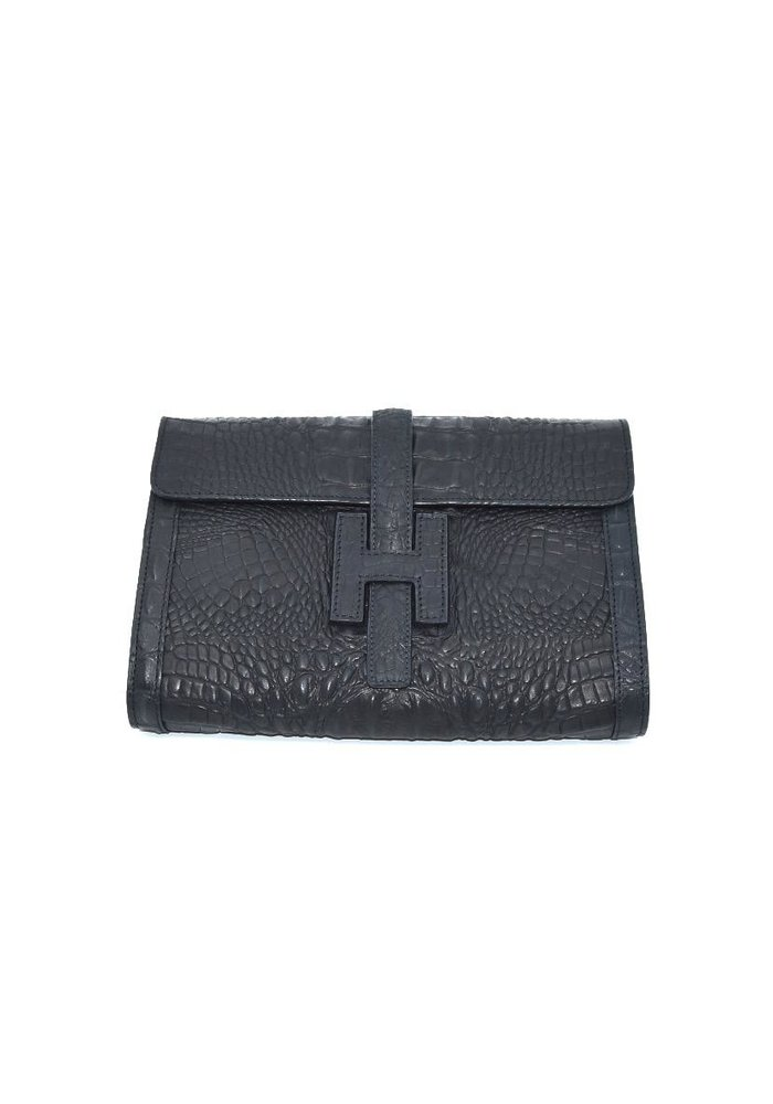 "Leather ""H"" Black Croc Embossed, Medium"