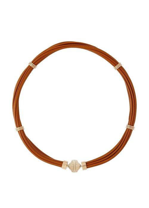 Clara Williams Clara Williams Aspen Leather Necklace - Camel Brown