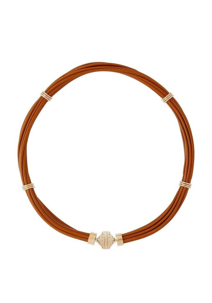 Clara Williams Aspen Leather Necklace - Camel Brown