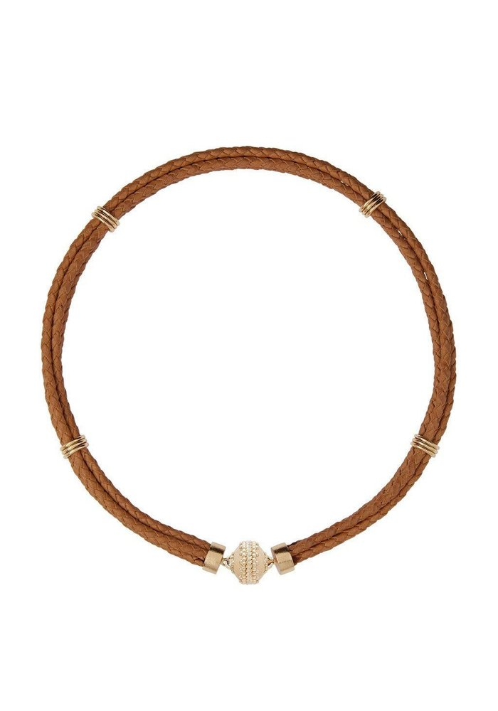 Clara Williams Aspen Braided Leather Tan Cowhide Necklace