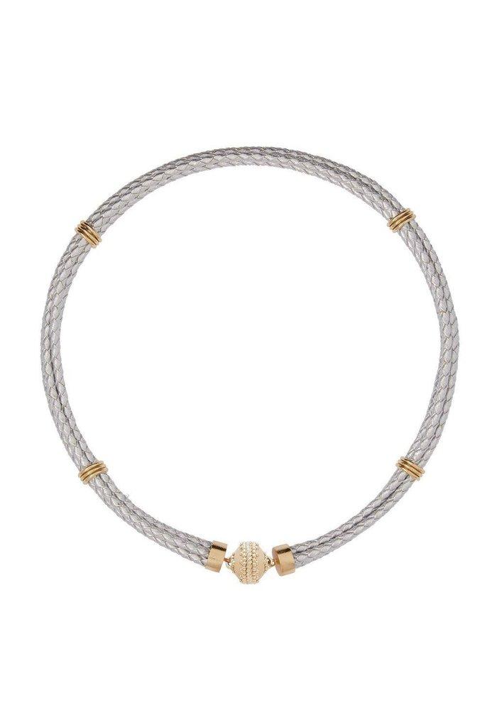 Clara Williams Aspen Braided Leather Silver Metalic Lambskin  Necklace