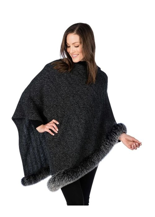 Claudia Nicole Claudia Nicole 100% Cashmere LUXE North Country Fox Trim Poncho - Black
