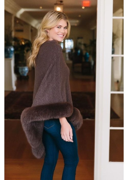 Claudia Nicole Claudia Nicole 100% Cashmere LUXE North Country Fox Trim Poncho - Boar & Cigar