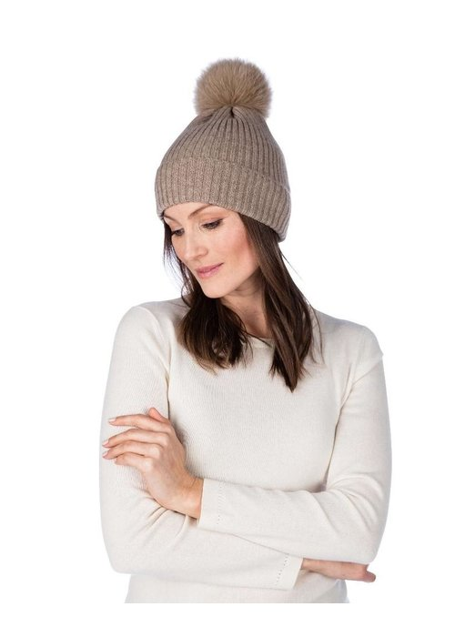 Claudia Nicole Claudia Nicole 100% Cashmere LUXE Ribbed Fox Pompom Hat