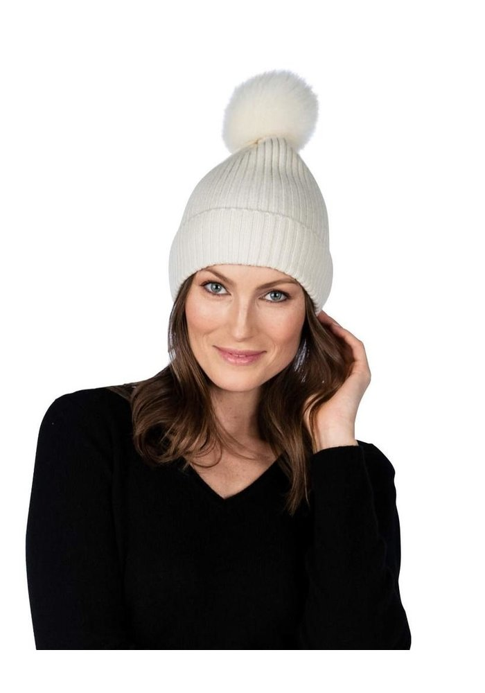 Claudia Nicole 100% Cashmere LUXE Ribbed Fox Pompom Hat