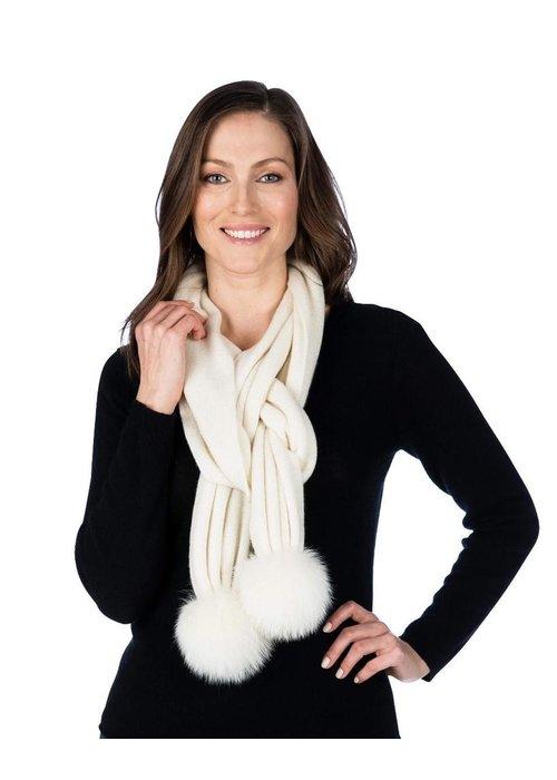 Claudia Nicole Claudia Nicole 100% Cashmere LUXE Fox Pompom Scarf