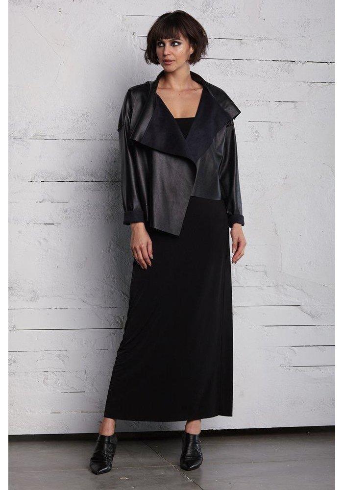 Cropped Asymmetrical Jacket - Black