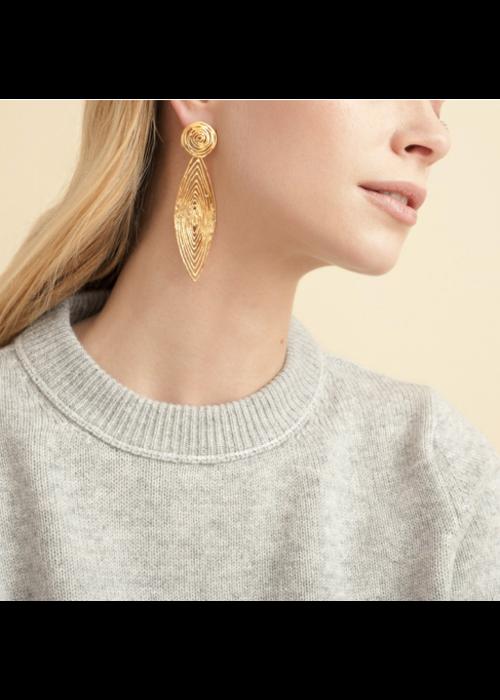 Gas Bijoux Gas Bijoux Earrings, Longwave, Small, plated in 24k Gold