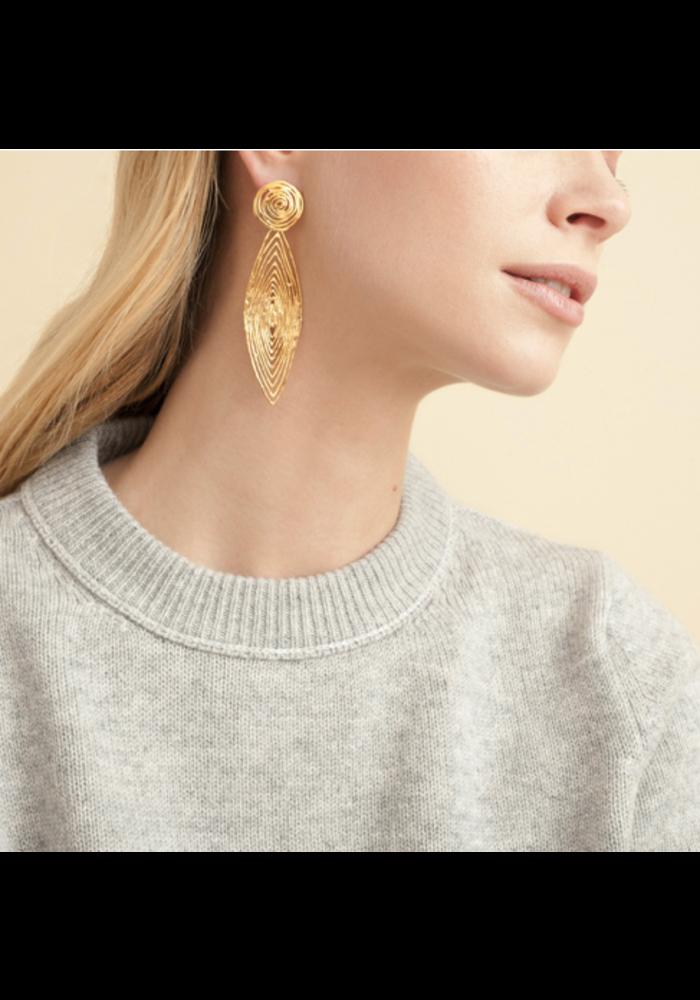 Gas Bijoux Earrings, Longwave, Small, plated in 24k Gold