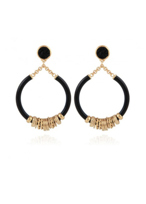 Gas Bijoux Gas Bijoux Earrings, Mariza Acetate Small Size, plated in 24k Gold