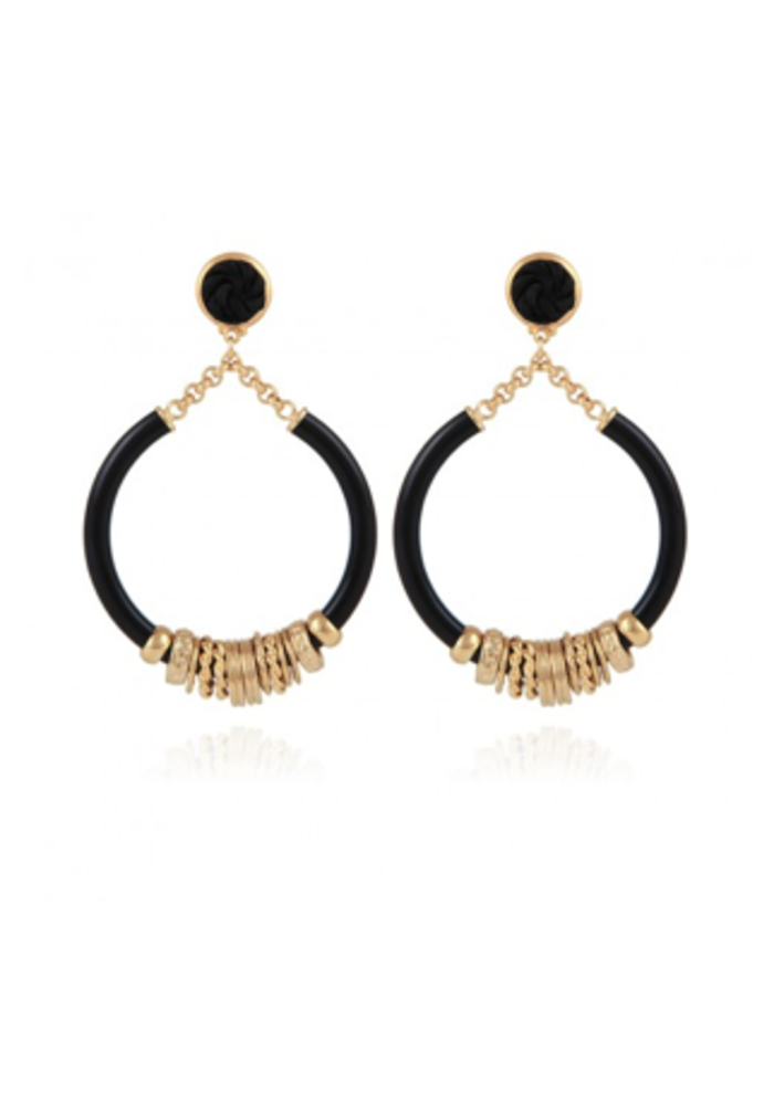 Gas Bijoux Earrings, Mariza Acetate Small Size, plated in 24k Gold