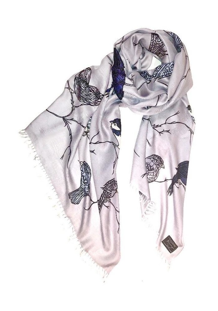 Cashmere Wrappings Illustrated Birds - Silver