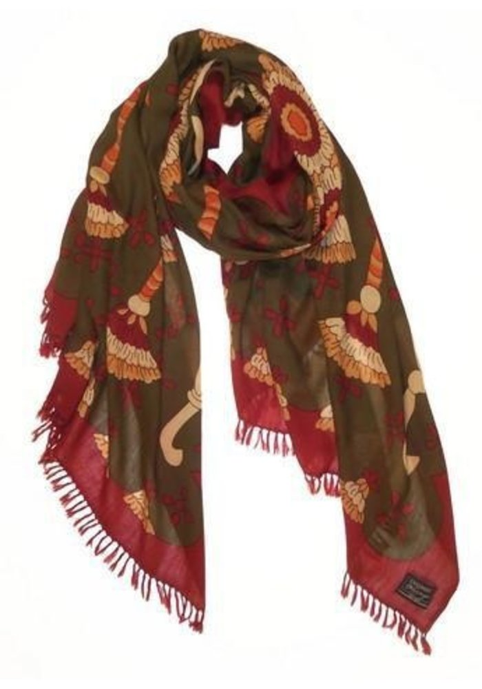 """Cashmere Wrappings, Tassels 36"""" by 80"""", Olive"""