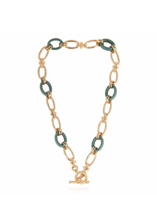 Gas Bijoux Gas Bijoux Escale necklace 16.9 in acetate and 24k gold plate