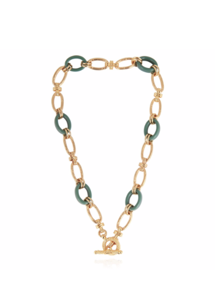 Gas Bijoux Escale necklace 16.9 in acetate and 24k gold plate