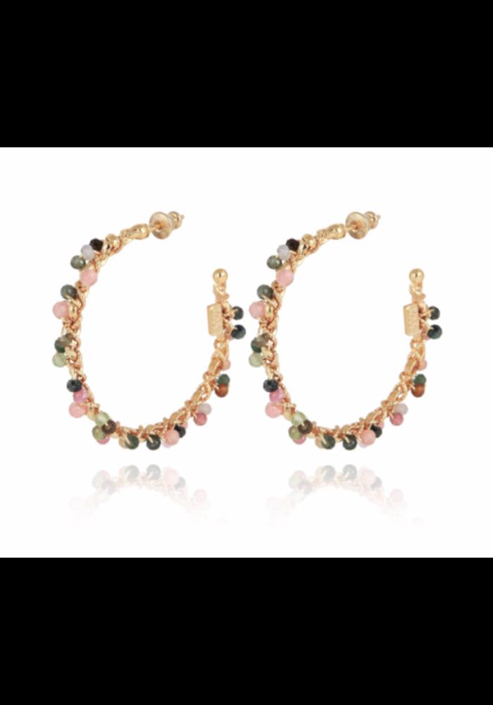 Gas Bijoux Earrings, Creole orphee, plated in 24k Gold