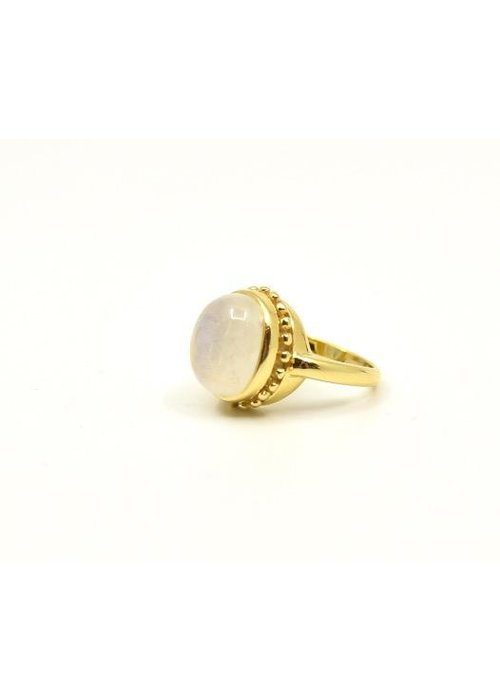 Mazza Mazza Oval Moonstone Cab 14K Etruscan Ring