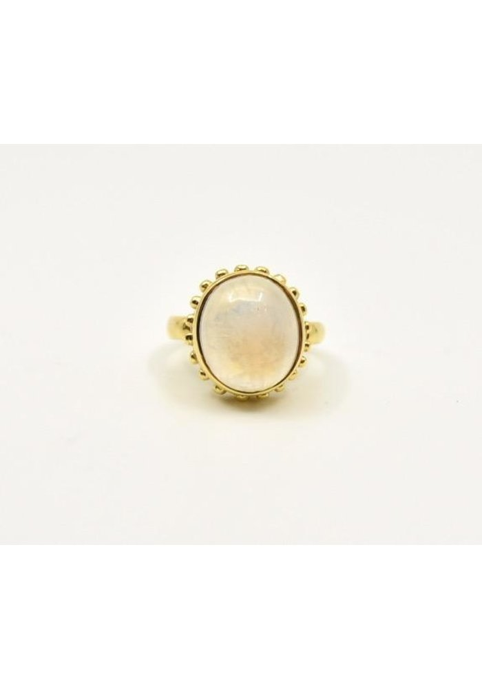 Mazza Oval Moonstone Cab 14K Etruscan Ring