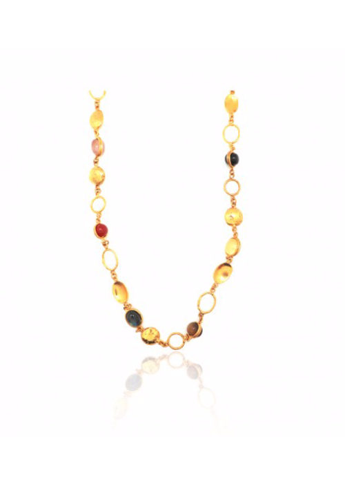 "Sylvia Toledano Collier Lee Necklace, about 36"" adjustable with multiple winter stones set in brass plated in 22k gold"