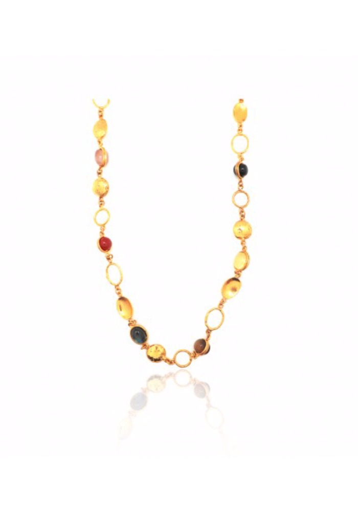 """Collier Lee Necklace, about 36"""" adjustable with multiple winter stones set in brass plated in 22k gold"""