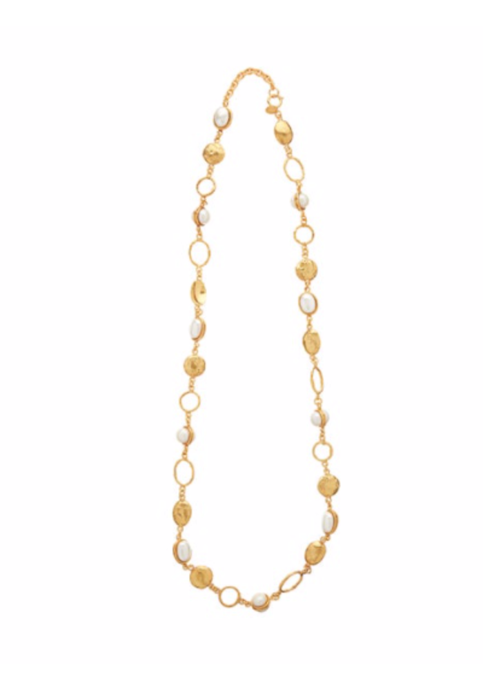 "Collier Lee Necklace, about 36"" adjustable with pearls set in brass plated in 22k gold"