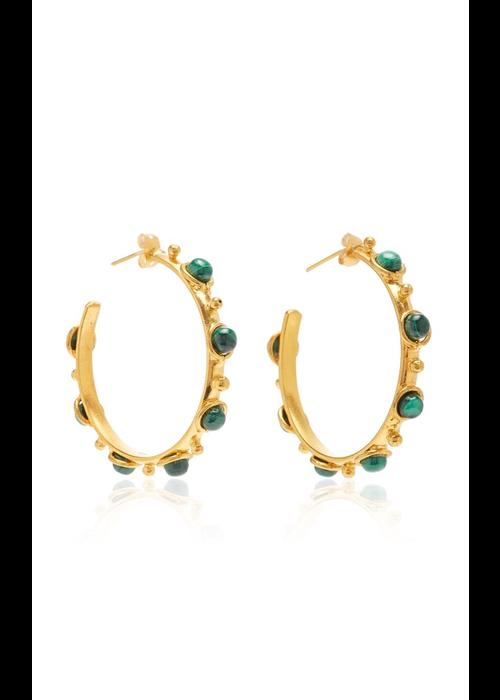"Sylvia Toledano Earrings ""Petite Candy"" with Malachite stones"