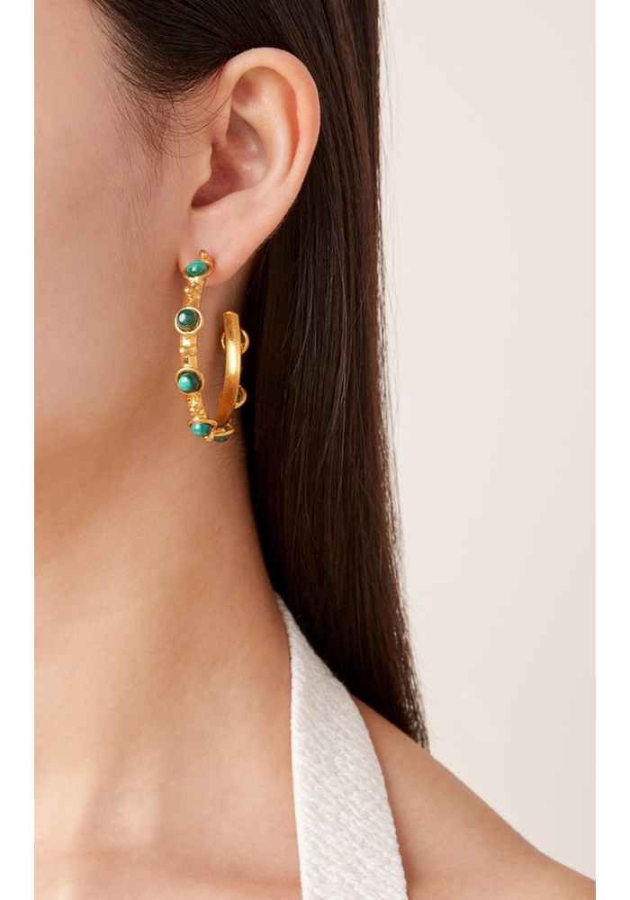 "Earrings ""Petite Candy"" with Malachite stones"
