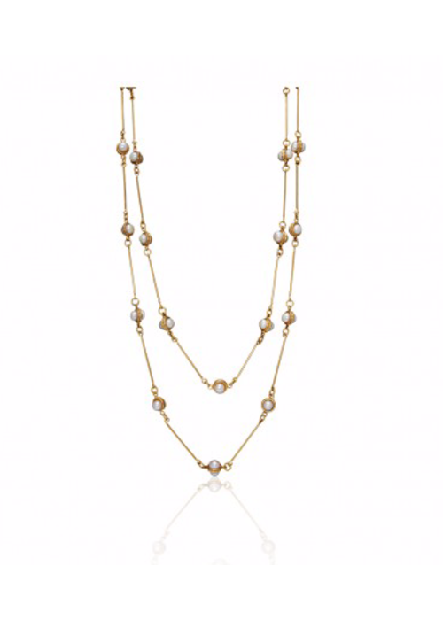 Sylvia Toledano Candies 22K Goldplated with Pearls, Layered Necklace 72""