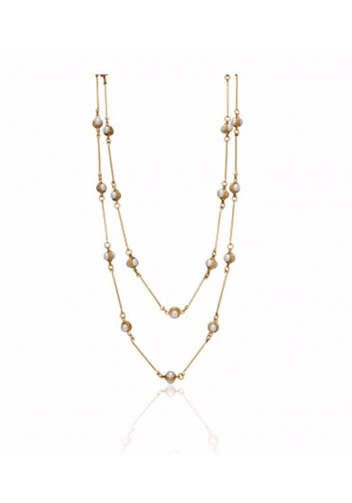 """Candies 22K Goldplated with Pearls, Layered Necklace 72"""""""
