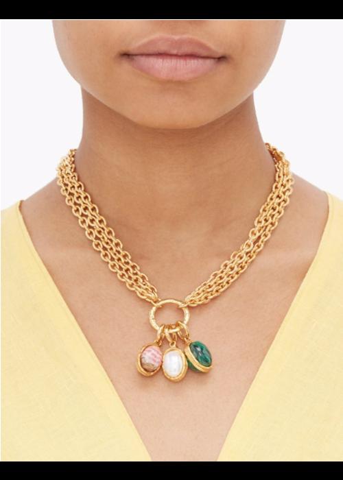 Sylvia Toledano Chain with 3 stones, malachite, rodochrosite and pearl