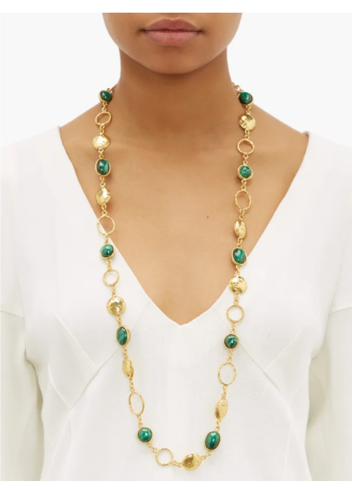 "Sylvia Toledano Collier Lee Necklace, about 36"" adjustable with malachite stones set in brass plated in 22k gold"