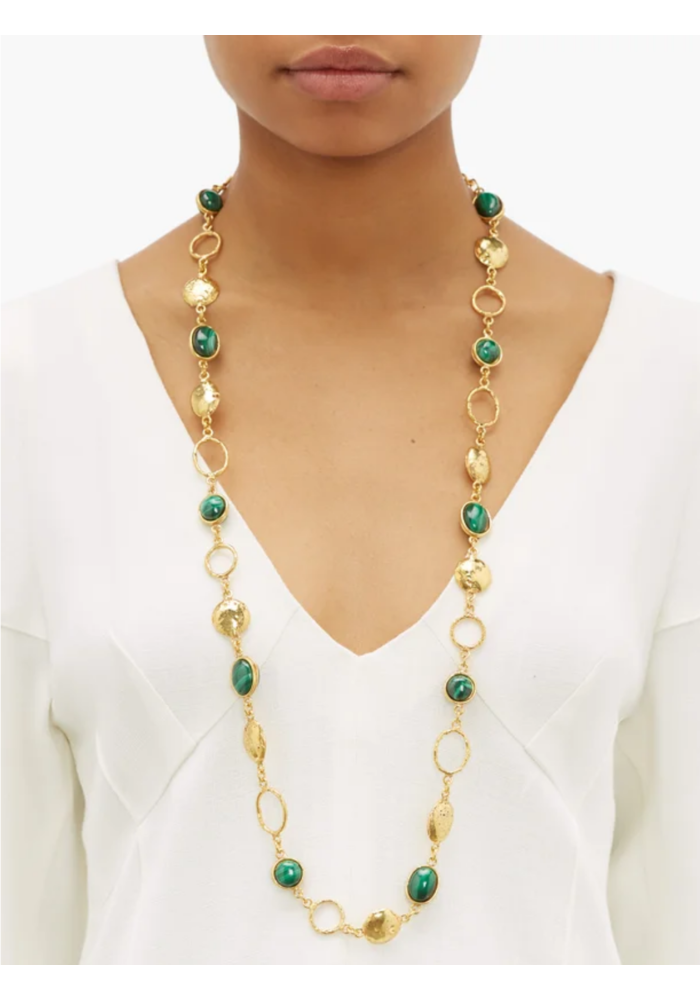 "Collier Lee Necklace, about 36"" adjustable with malachite stones set in brass plated in 22k gold"