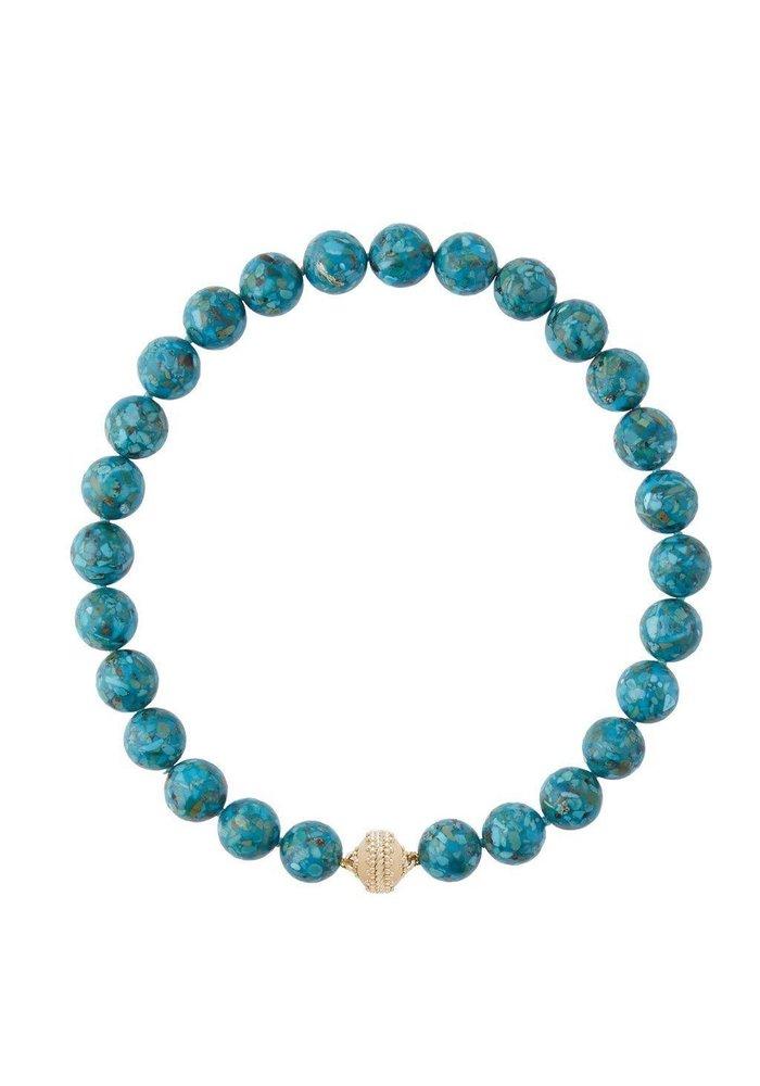 Clara Williams LTD Victoire Mosaic Turquoise Necklace 14MM