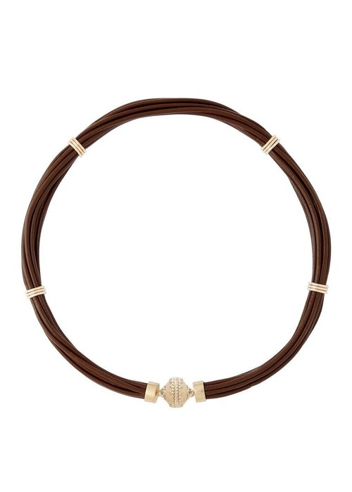 Clara Williams Clara Williams Aspen Leather Necklace - Chocolate Brown