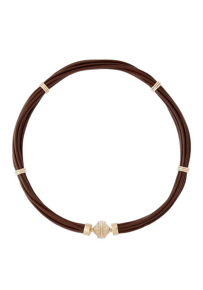 Clara Williams Aspen Leather Necklace - Chocolate Brown
