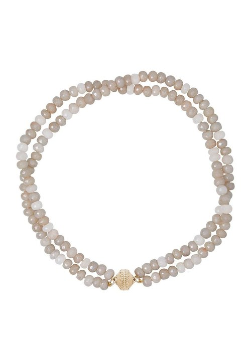 Clara Williams Clara Williams Coated Gray Moonston Faceted Rhondelle Necklace, 2 Strands