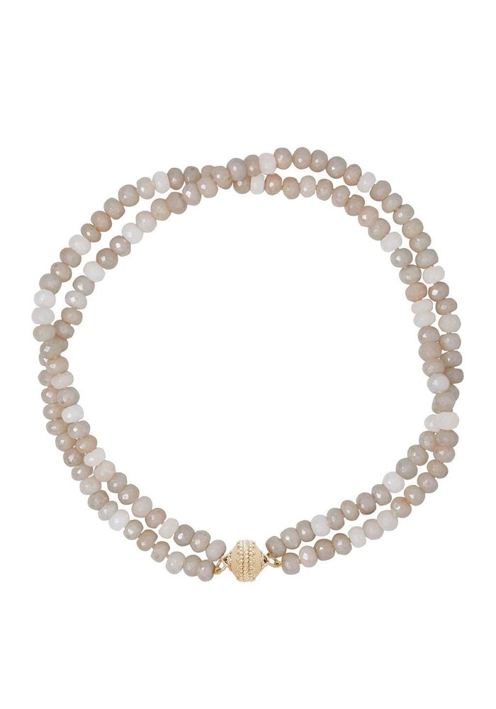 Clara Williams Coated Gray Moonston Faceted Rhondelle Necklace, 2 Strands