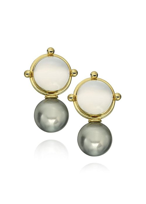 "Mazza Mazza Earrings, ""Milk"" Quartz Tahitian Pearl 14k Post"