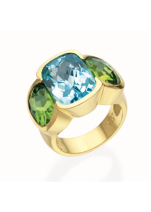 Mazza Mazza blue topax and peridot in 14k Gold
