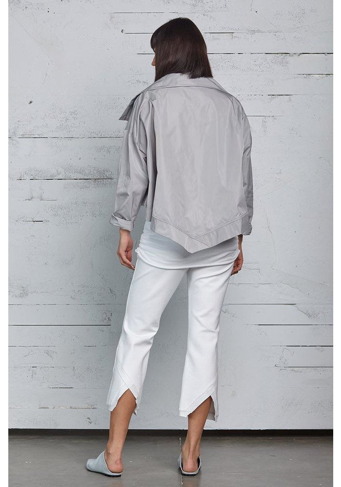 Cropped Asymmetrical Jacket in Ash